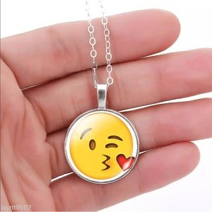 Adorable silver necklace with emoji picture